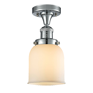 Small Bell Polished Chrome Nine-Inch One-Light Semi Flush Mount with Matte White Cased Bell Glass