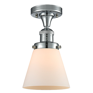 Small Cone Polished Chrome Seven-Inch LED Semi Flush Mount with Matte White Cased Cone Glass