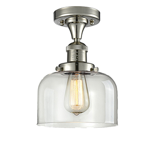 Large Bell Polished Nickel 12-Inch One-Light Semi Flush Mount with Clear Dome Glass