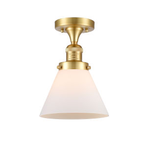 Franklin Restoration Satin Gold 12-Inch LED Semi-Flush Mount with Matte White Cased Large Cone Shade