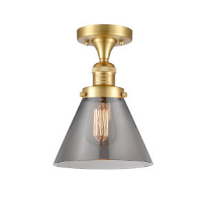 Franklin Restoration Satin Gold 12-Inch LED Semi-Flush Mount with Plated Smoke Large Cone Shade