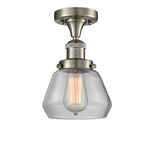 Fulton Brushed Satin Nickel 11-Inch LED Semi Flush Mount with Clear Sphere Glass
