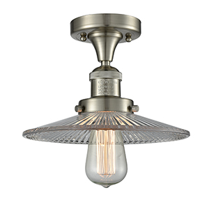 Halophane Brushed Satin Nickel Eight-Inch LED Semi Flush Mount with Halophane Cone Glass