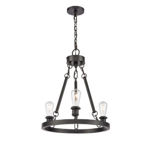 Ballston Matte Black Three-Light LED Chandelier