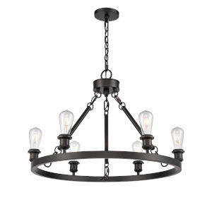 Ballston Matte Black Six-Light Chandelier