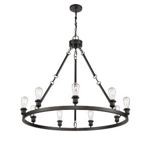 Ballston Matte Black 40-Inch Nine-Light Chandelier