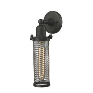Austere Oil Rubbed Bronze Five-Inch One-Light Wall Sconce with Quincy Hall Oil Rubbed Bronze Metal Shade