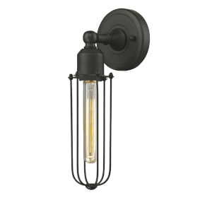 Austere Oil Rubbed Bronze Five-Inch One-Light Wall Sconce with Muselet Oil Rubbed Bronze Metal Shade