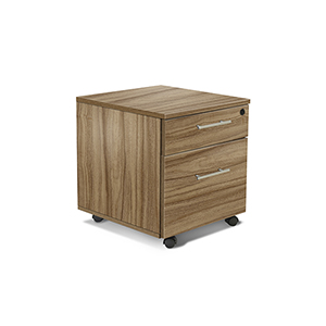 100 Collection Walnut Two Drawer Mobile Pedestal File