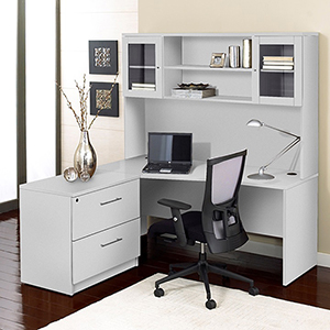 100 Collection White Corner L Shaped Desk with Hutch and Left Lateral File