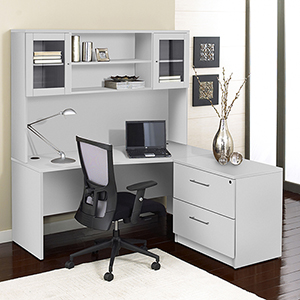 100 Collection White Corner L Shaped Desk with Hutch and Right Lateral File