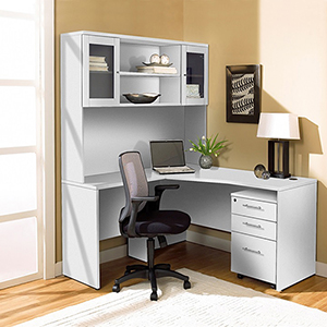 100 Collection White Corner L Shaped Desk with Hutch and Left Mobile Pedestal