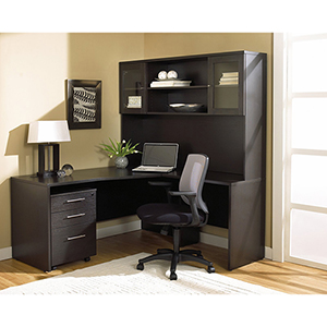 100 Collection Espresso Corner L Shaped Desk with Hutch and Right Mobile Pedestal