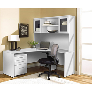 100 Collection White Corner L Shaped Desk with Hutch and Right Mobile Pedestal