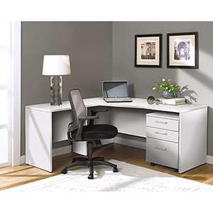 100 Collection White Corner L Shaped Desk-Left