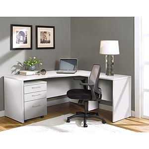 100 Collection White Corner L Shaped Desk-Right