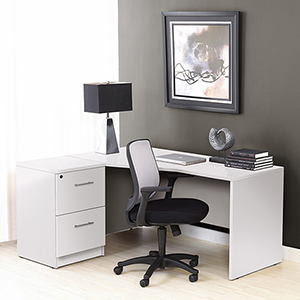 100 Collection White Corner L Shaped Desk with Left Filing Cabinet