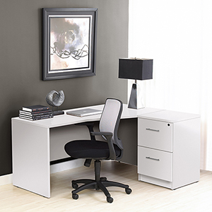100 Collection White Corner L Shaped Desk with Right Filing Cabinet