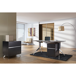 300 Collection Espresso Executive Computer Desk with File Cabinet and Mobile Pedestal