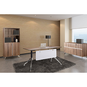 300 Collection Walnut Executive Computer Desk with Credenza and Bookcase