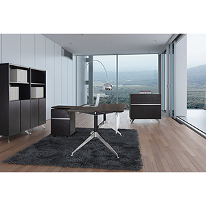 300 Collection Espresso Executive L Shaped Desk with File Cabinet, Mobile Pedestal and Bookcase
