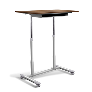 Stand Up Desk Height Adjustable and Mobile with Walnut Top