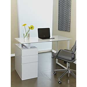 White Tribeca Writing Desk with Drawers