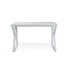 White Desk with Pure White Glass Top