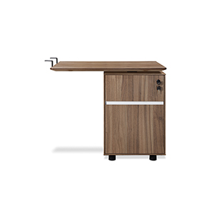 300 Collection Walnut Return Desk with file cabinet
