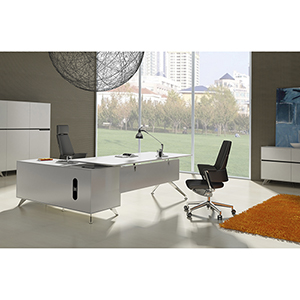 400 Collection White Executive Desk with Right Return Cabinet