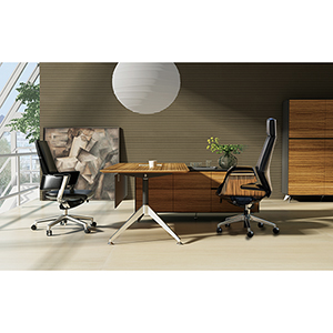 400 Collection Zebrano Executive Desk with Right Return Cabinet