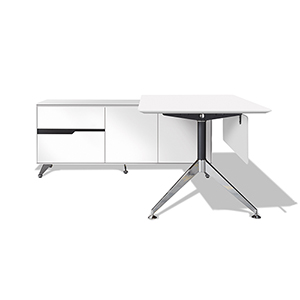 400 Collection White Executive Desk with Left Return Cabinet
