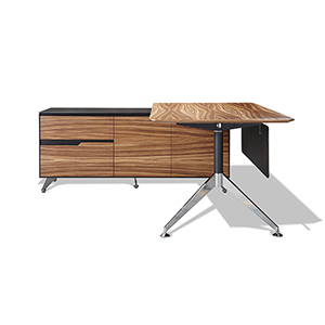 400 Collection Zebrano Executive Desk with Left Return Cabinet