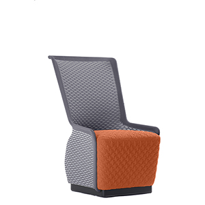 Tulip Orange and Gray Mesh Lounge Chair
