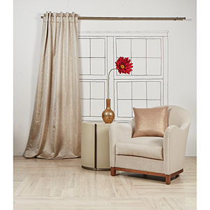 Aura Champagne 108 x 50 In. Curtain Single Panel