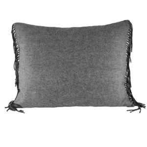 Fringe Grey Throw Pillow