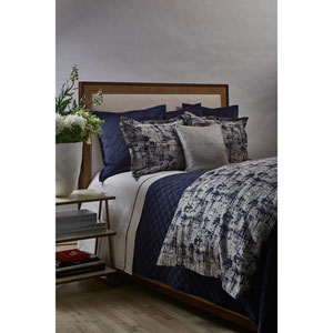 Scratch Navy and Silver Three-Piece King Duvet Set