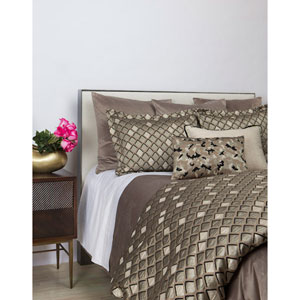 Scales Taupe Three-Piece Queen Duvet Set