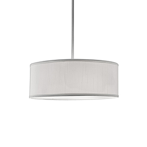 Brushed Nickel 15-Inch Three-Light Pendant with White Shade