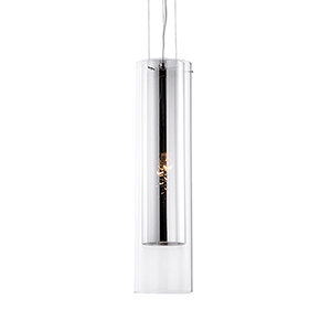 Chrome 19-Inch One-Light Pendant with Mirror and Clear Glass