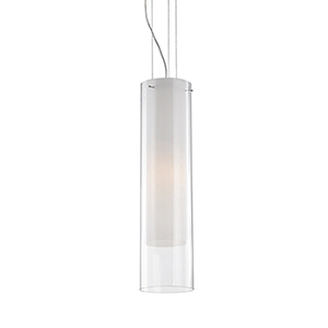 Chrome 19-Inch One-Light Pendant with White and Clear Glass