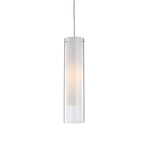 Chrome Four-Inch One-Light Pendant with White Opal and Clear Glass