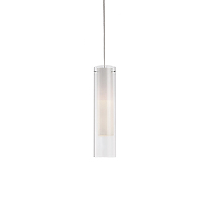 Chrome Three-Inch One-Light Pendant with White opal and Clear Glass