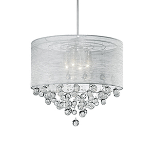 Chrome 21-Inch Four-Light Pendant with Grey Shade