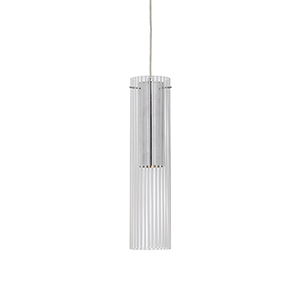 Chrome 16-Inch One Light LED Pendant with Frosted Striped Glass