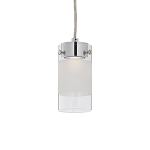 Chrome Three-Inch One Light LED Pendant with Frosted Striped Glass