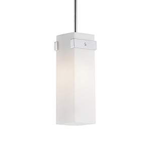 Chrome Three-Inch One-Light Pendant with White Opal Glass