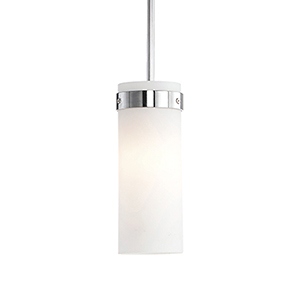 Chrome Three-Inch One-Light Pendant White Opal Glass