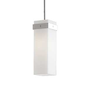 Chrome Three-Inch One-Light Square Pendant White Opal Glass