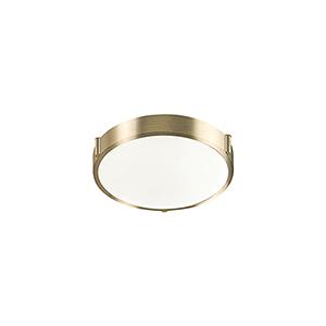 Vintage Brass 11-Inch One-Light Flush Mount